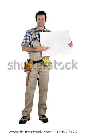 Builder stood with blank advertising panel Stock photo © photography33