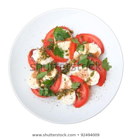 Salad of tomatoes, cheese and basil. Horizontally. Stock photo © frank11