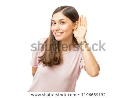 Vrouw luisteren iets voorzichtig nieuws hoofd Stockfoto © photography33