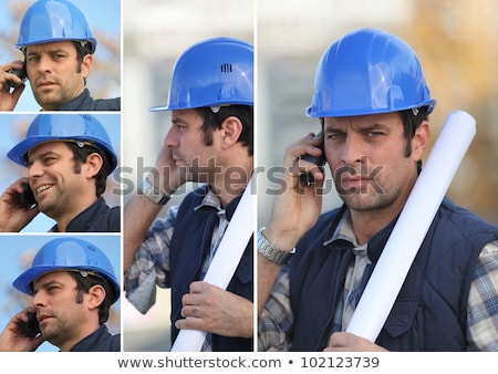 snapshots of young man with blue safety helmet on the phone Stock photo © photography33