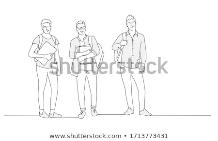 Three male student in line. Stock photo © photography33