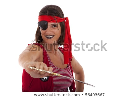 Woman dressed as pirate on black with sword Stock photo © pzaxe