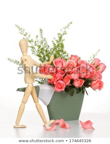 wooden puppet on pink watering can Stock photo © compuinfoto