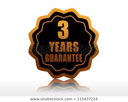 üç yıl garanti etiket altın metin Stok fotoğraf © marinini