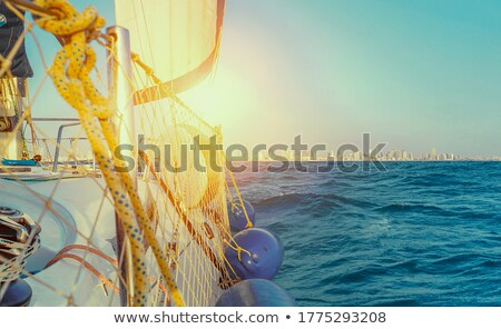 a vessel navigating on high seas under a sunset Stock photo © experimental