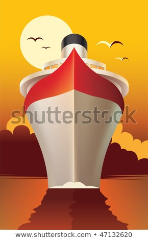 Vector Illustration Of A Cruise Ship At Sunset Foto stock © rtguest