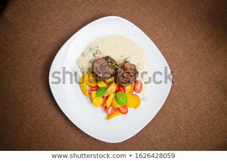 beefsteak · légumes · fourche · manger · canard · steak - photo stock © m-studio