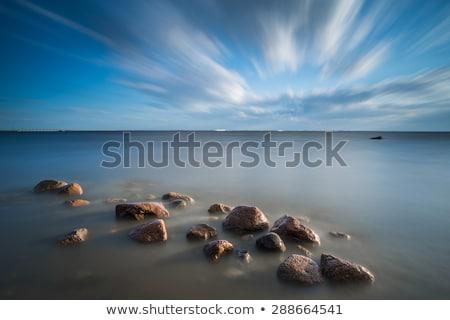 Pedras água longa exposição tiro oceano azul Foto stock © moses