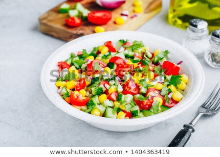 salade · mais · tomaat · peterselie · voedsel · hout - stockfoto © M-studio