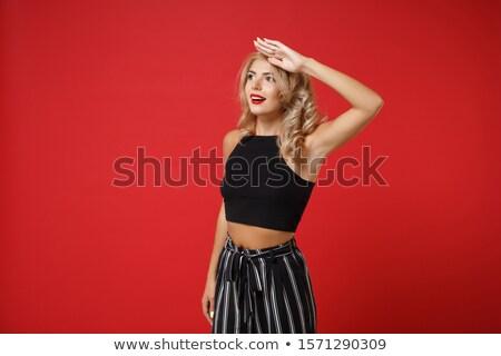 Modell pózol kezek fej barna hajú nő Stock fotó © chesterf