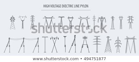 High voltage powerline Stock photo © Stocksnapper