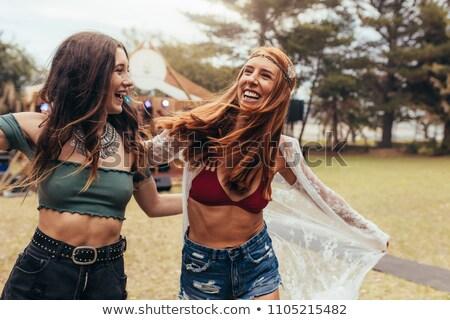 Duas pessoas festival esboço lápis papel bolo Foto stock © cherezoff