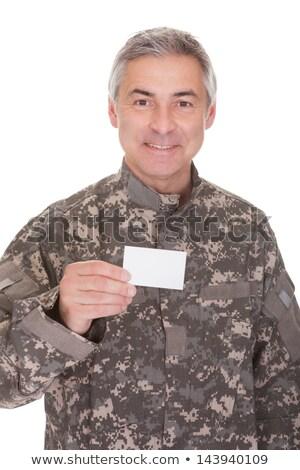 olgun · asker · boş · kağıt · yalıtılmış · beyaz - stok fotoğraf © AndreyPopov