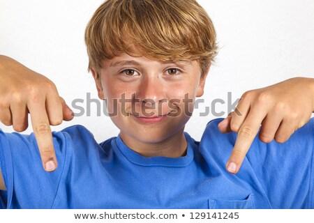 Cute красивый мальчика шутливый лице джинсов Сток-фото © meinzahn
