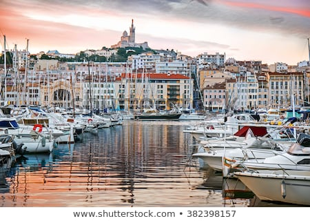 sunset in the harbor marseille france stock photo © capturelight