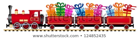funny color christmas background with a toy train with gifts stock photo © elmiko