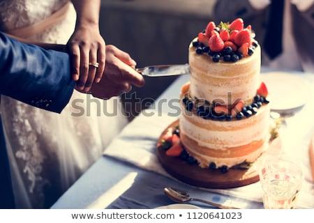 menyasszony · vőlegény · vág · esküvői · torta · recepció · esküvő - stock fotó © kmwphotography