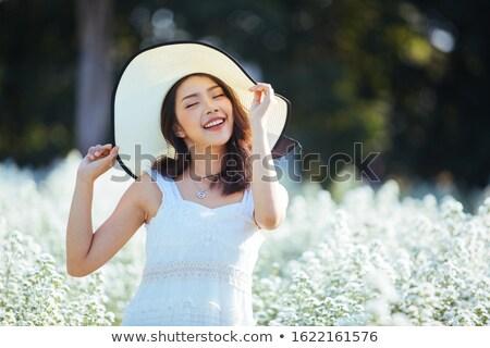美人 · ラベンダー畑 · 花束 - ストックフォト © witthaya