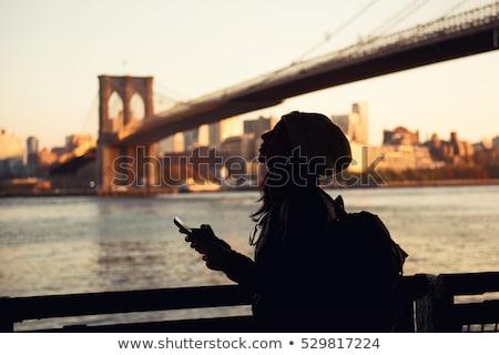 Workers on Brooklyn Bridge in Manhattan Stock photo © Hofmeester