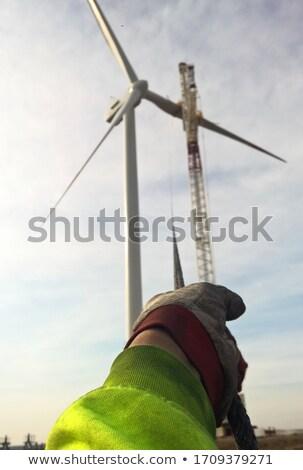 Rüzgâr değirmen mavi gökyüzü çalışmak mavi çalışma Stok fotoğraf © gemenacom