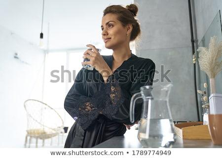 güzel · kadın · yeşil · siyah · kız · seksi - stok fotoğraf © disorderly