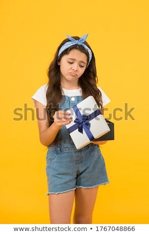 triest · meisje · zoals · aanwezig · geïsoleerd · witte - stockfoto © PetrMalyshev