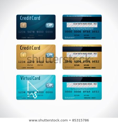 Credit Cards Golden Vector Icon Button Stok fotoğraf © tele52