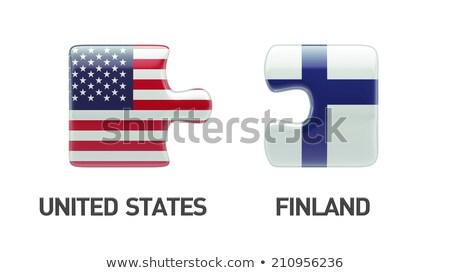 ストックフォト: 米国 · フィンランド · フラグ · パズル · ベクトル · 画像