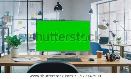 nero · tft · monitor · isolato · bianco · ufficio - foto d'archivio © shutswis
