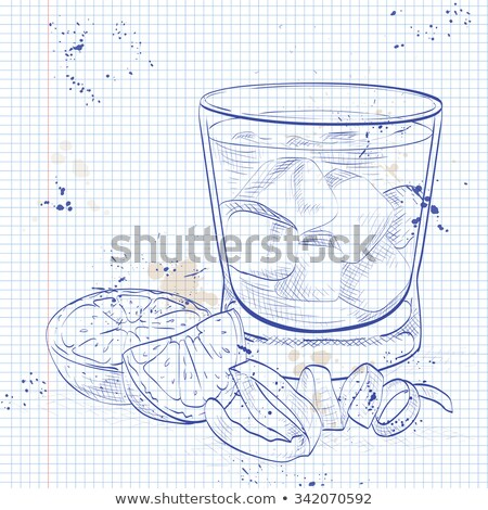 Negroni alcoholic cocktail on a notebook page Stock photo © netkov1