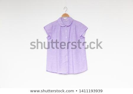 Mor bluz güzel kadın kadın öfkeli Stok fotoğraf © disorderly
