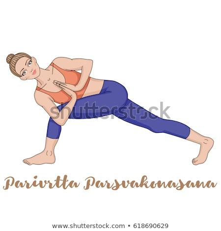 nő · meditál · oldal · egyensúly · jóga · pozició - stock fotó © photocreo