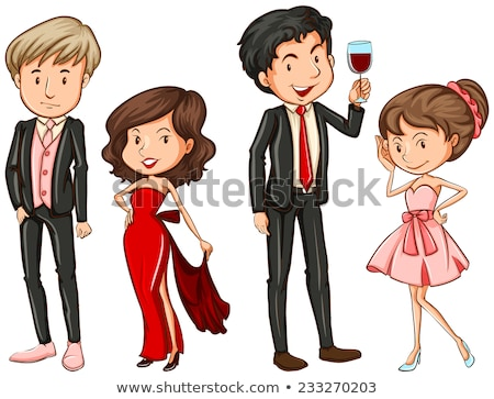 A plain sketch of a boy and a girl in their formal attires Stock photo © bluering