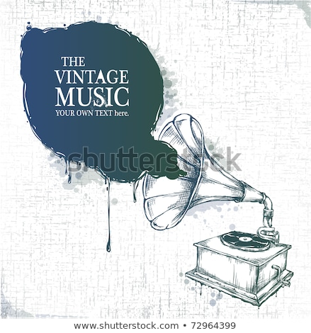 Bağbozumu gramofon müzikal kâğıt ahşap Stok fotoğraf © IMaster