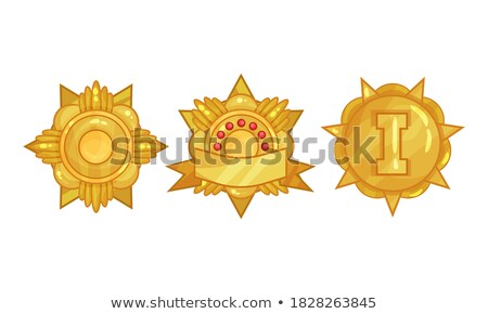 Golden medal and emblem (insignia) - cogged and round Stock photo © gomixer