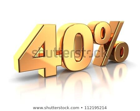 3D · altın · 40 · kırk · yüzde · indirim - stok fotoğraf © supertrooper
