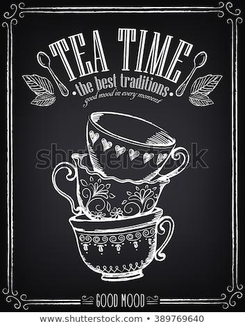 чай время кадр ретро иллюстрация человека Сток-фото © ElaK