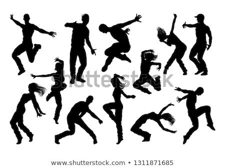 Dans genç kadın ayarlamak siyah Stok fotoğraf © derocz