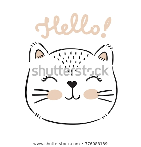 Gato cara etiqueta alegre funny arco Foto stock © shai_halud