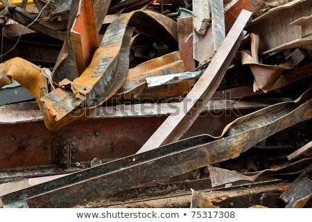 Big Pile Rusty Scrap Steel Girders Demolition Site Stock photo © Qingwa