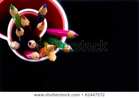 Különböző tanszerek fekete közelkép könyv gyümölcs Stock fotó © wavebreak_media
