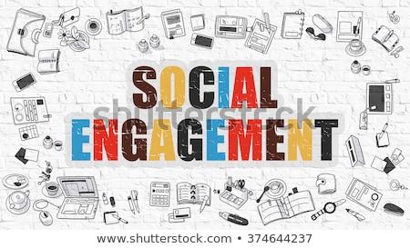 social engagement in multicolor doodle design stock photo © tashatuvango