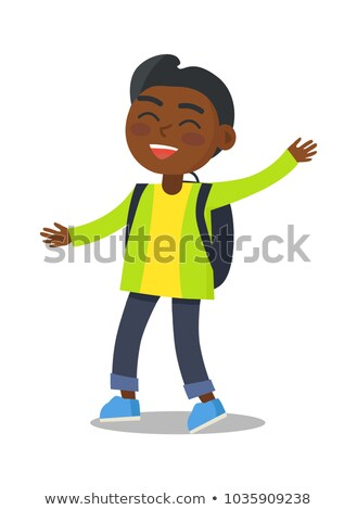 Smiling Kid in Green Jacket Jeans with Rucksack Stock photo © robuart