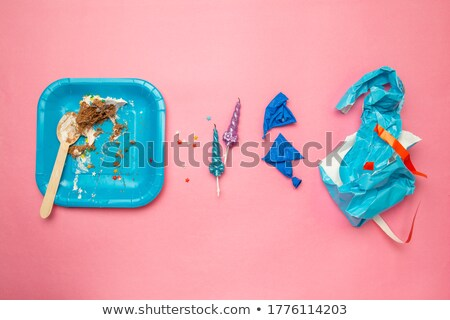half eaten birthday cake with candle Stock photo © IS2