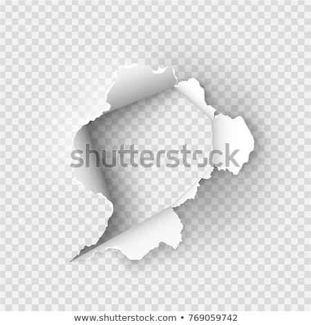 Zwarte gescheurd papier transparant sjabloon schaduw abstract Stockfoto © romvo