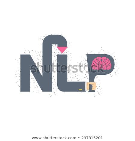 Logo emblema mano carta cerebro Foto stock © popaukropa