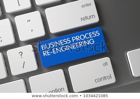 blue business process re engineering key on keyboard 3d stockfoto © tashatuvango