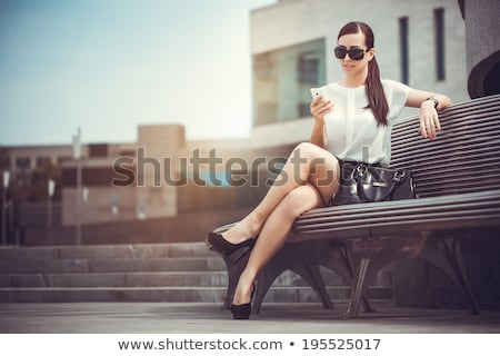 Nő pihen pad város olvas alszik Stock fotó © IS2