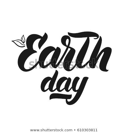 earth day line design sign stamp Illustrator. design graphic. Stock photo © alexmillos