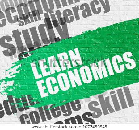 узнать экономика белый кирпичная стена образование службе Сток-фото © tashatuvango